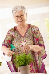 Happy senior woman watering plant