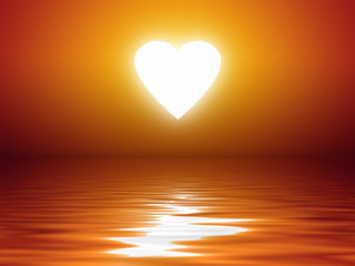 sunset heart shape