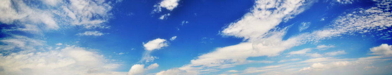 Cloudy banner. White clouds panorama