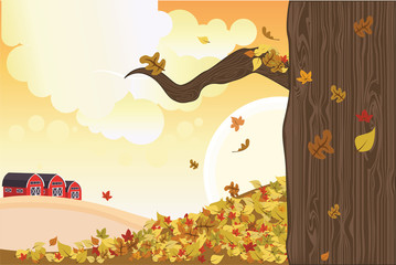 Vector illustration of falling leaves during autumn season