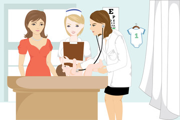 Vector illustration of a doctor examining a baby at her office