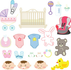 Vector illustration of a collection of baby items