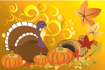 Vector illustration of turkey and pumpkins for Thanksgiving