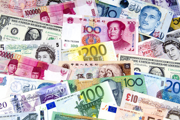 A collection of various currencies.