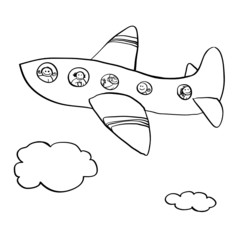 Airplane with passengers. Cute doodle about travel theme.