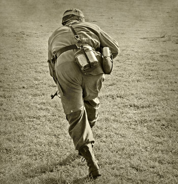 Soldier attacking