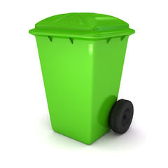 The green garbage container over white