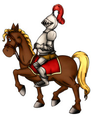Spoed Foto op Canvas Ridders Ritter, Reiter, Pferd, Mittelalter, Söldner, Rüstung