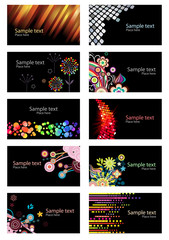 Set of different colorful business cards on black background