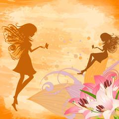 Keuken foto achterwand Magische wereld flower fairies on the grunge background