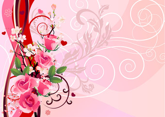 Beautiful romantic floral background with pink roses
