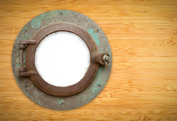 Antique Porthole on Bamboo with Blank Window and Clipping Path