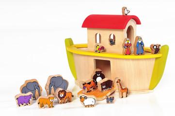 Arche Noah - Holzschiff - Holztiere