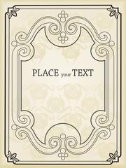 Vintage background vector frame for book or card