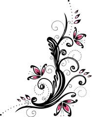 Ranke, floral, filigran, Blumen, Blätter, pink, schwarz