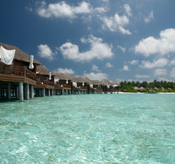 Overwater bungalow on the lagoon