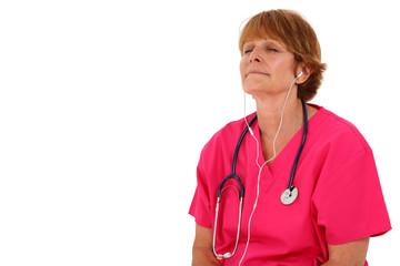 Nurse Listening To Headphones