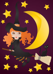 Vector illustration of witch with black cat on the broom