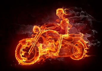 Wall Mural - Fire biker