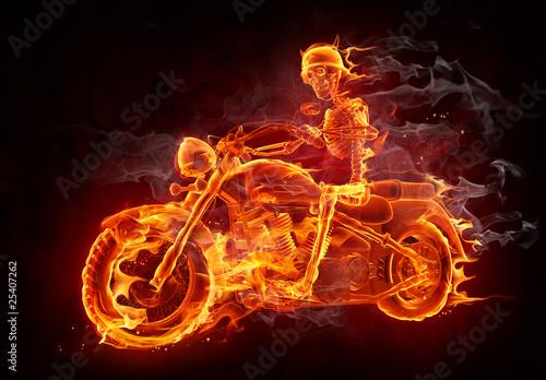 Fototapete Fire biker