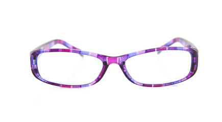 purple reading glasses over white background
