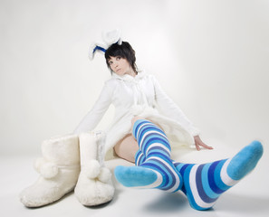 Pretty bunny woman