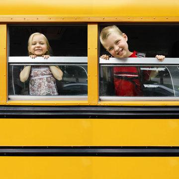 Children in a school bus