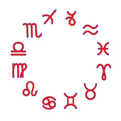 Zodiac signs on a circle, 3d, it is isolated.