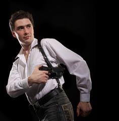 photo yuong man with gun