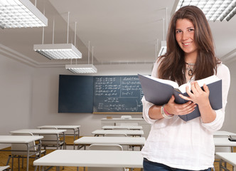 Cute girl in a classroom