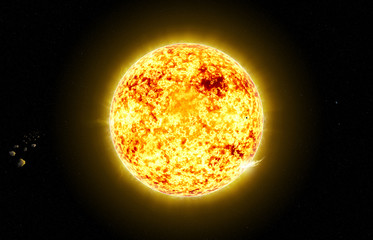 Sun in space with asteroid