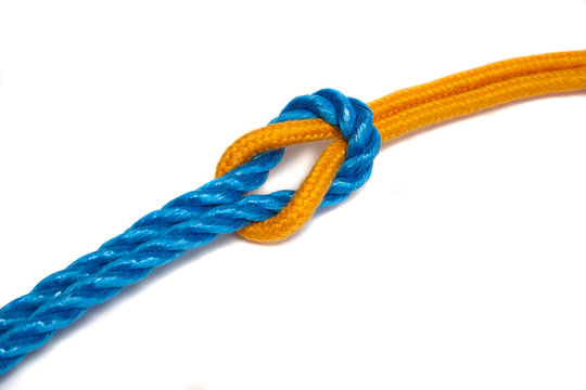 Two Ropes tied together with a reef knot - with shadow