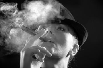 woman smoking cigar