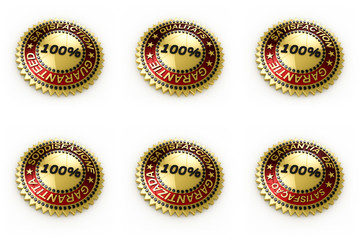Satisfaction guaranteed seal in 6 languages with clipping path