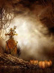 Sceneria na Halloween z kościotrupem