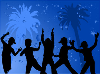 Silhouettes of children - blue background