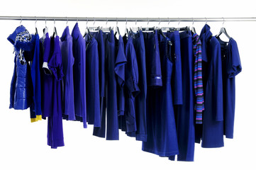 fashion blue clothing hanging as display