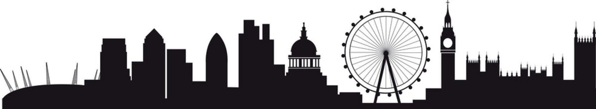 Detailed silhouette of london skyline