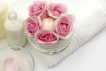 still life for wellness and spa with rose