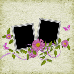 Card for the holiday  with flowers on the green background
