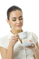 Young happy woman with cup of coffee, isolated on white