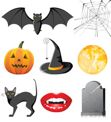 highly detailed halloween icons set