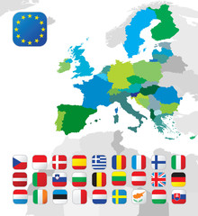 The European Union map and flags