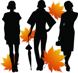 Silhouettes of the girls and leaves.
