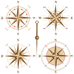 4 vintage compass roses