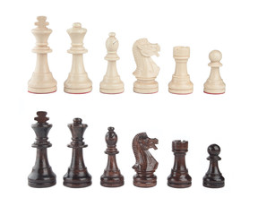 A set of black and white chess pieces