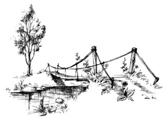 Landscape with suspended bridge over river sketch