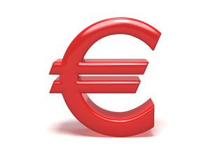 3D red euro symbol