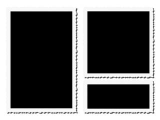 Trois tirages noirs avec bords dentelés