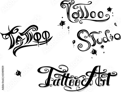 schriftz ge tattoo studio logo vector set im genes de. Black Bedroom Furniture Sets. Home Design Ideas